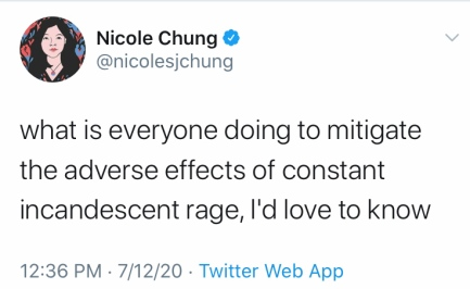 """Nicole Chung tweet: """"what is everyone doing to mitigate the adverse effects of constant incandscent rage, I'd love to know"""""""